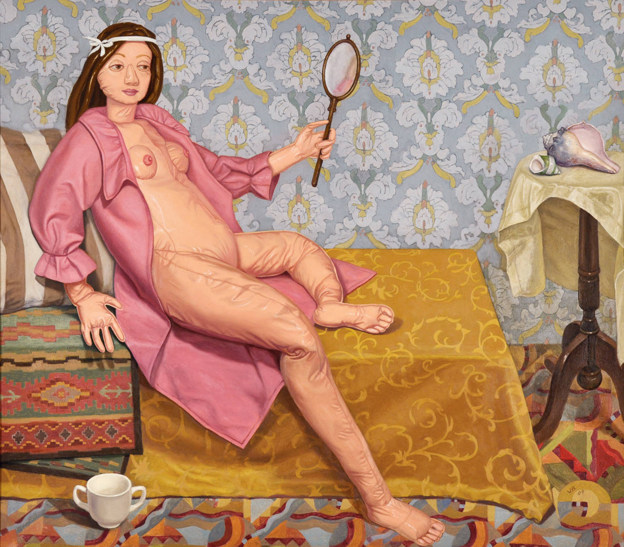 Vera Barnett Nude Painting - Reflection (after The Turkish Room by Balthus)