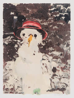 Snowman with Red Straw Hat