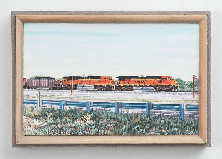Eastbound Freight Train, Colorado; US Highway 50 - Contemporary Painting by Lloyd Brown