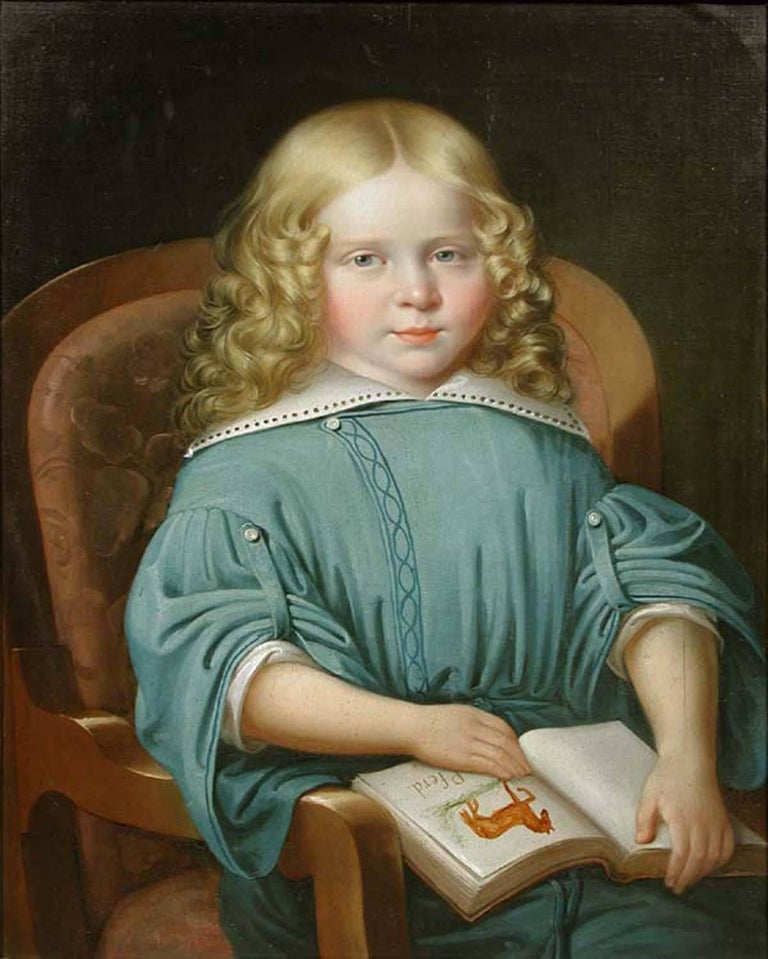 Portrait of a Girl with a Book, MARTIN JABLONSKI - Portrait, Russian, Realism - Realist Painting by MARTIN JABLONSKI