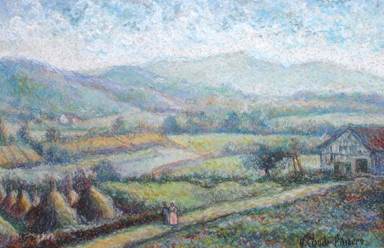 Hugues Claude Pissarro Landscape Painting - Le Massif de la Rhune au Pays Basque