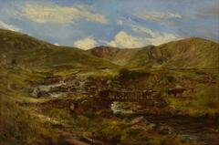 Welsh Landscape with Figures and Cattle Crossing Bridge