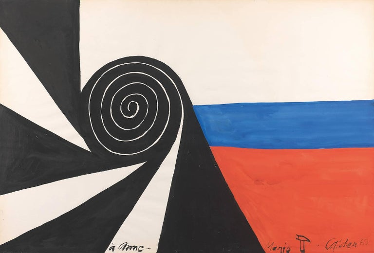 Spirale, ALEXANDER CALDER - Abstract, Modern, Geometric, Red, Blue, Black - Painting by Alexander Calder