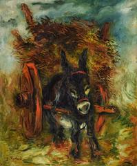 Donkey Pulling a Haycart