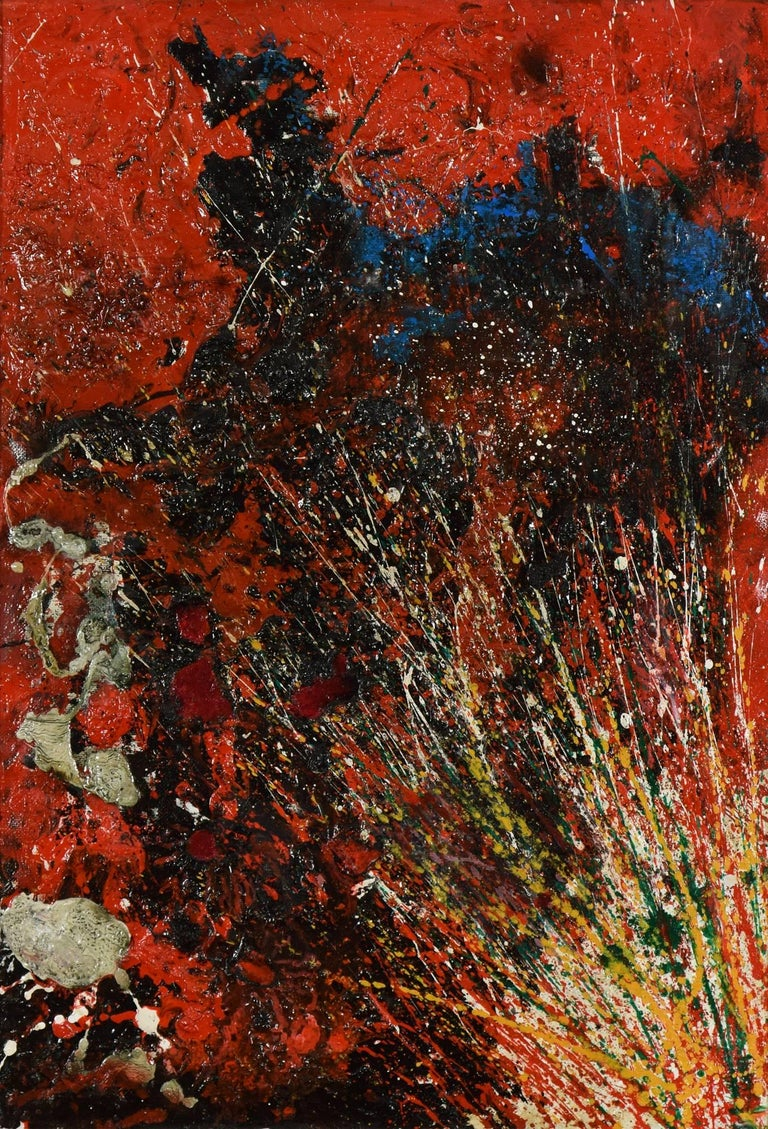 Red Composition by TOSHIMITSU ÏMAI - Contemporary, Abstract, Oil on canvas - Painting by Toshimitsu Imai