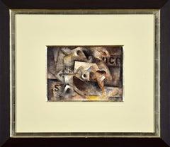 "Composition ""68"", ROBERT MARC - Cubist, Modern, Abstract, Geometric, Mixed Media"