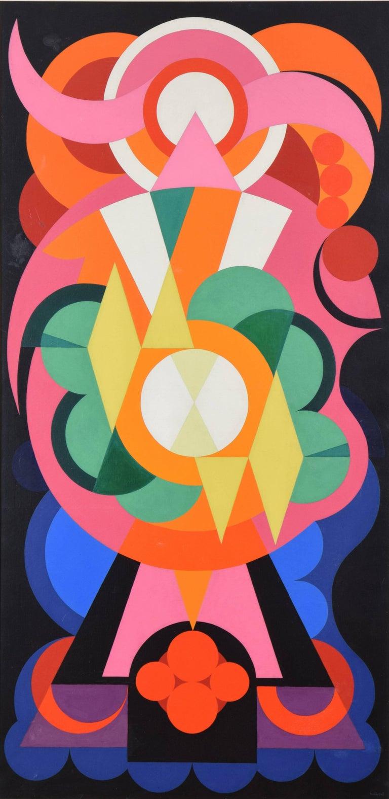 Auguste Herbin Abstract Painting - Composition sur les Noms Communs: Ange, Lion, Fauvette