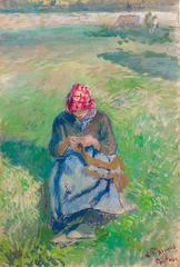 Camille Pissarro - Paysanne Tricotant