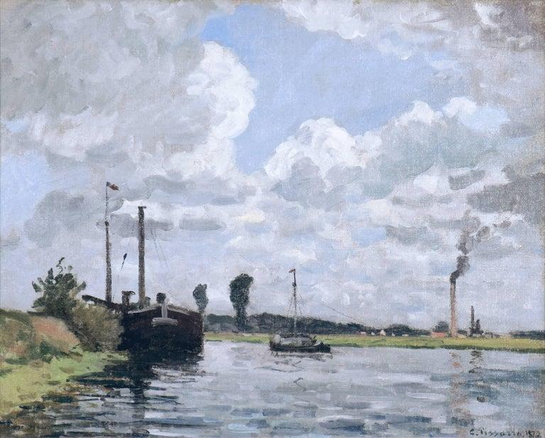 Bords de l'Oise, Environs de Pontoise by CAMILLE PISSARRO - Impressionist,  - Painting by Camille Pissarro