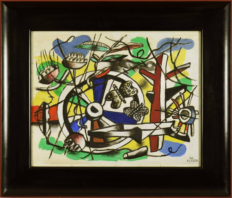 Oil on canvas board 43.3 x 52.9 cm (17 x 20 ¾ inches) Signed and dated lower right, 44 F. LEGER Titled, LES PAPILLONS DANS la roue and signed, F. LEGER. 44 on the reverse   Provenance Valentine Gallery, New York, 1945 Perls Galleries, New York