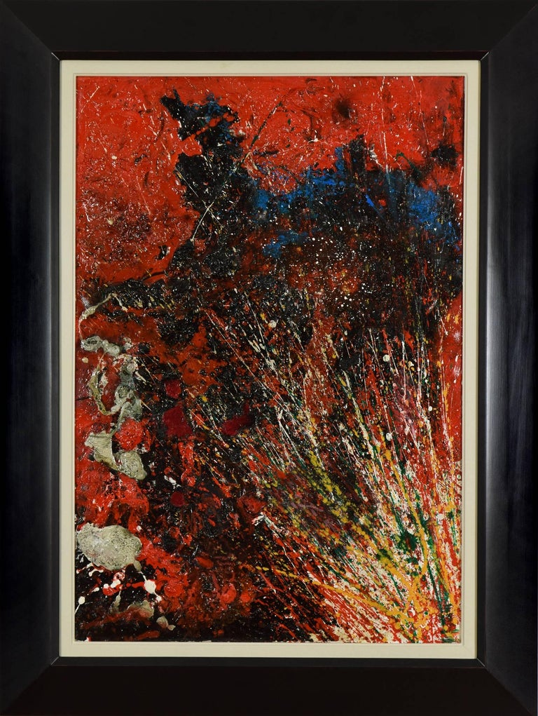 Toshimitsu Imai Abstract Painting - Red Composition by TOSHIMITSU ÏMAI - Contemporary, Abstract, Oil on canvas