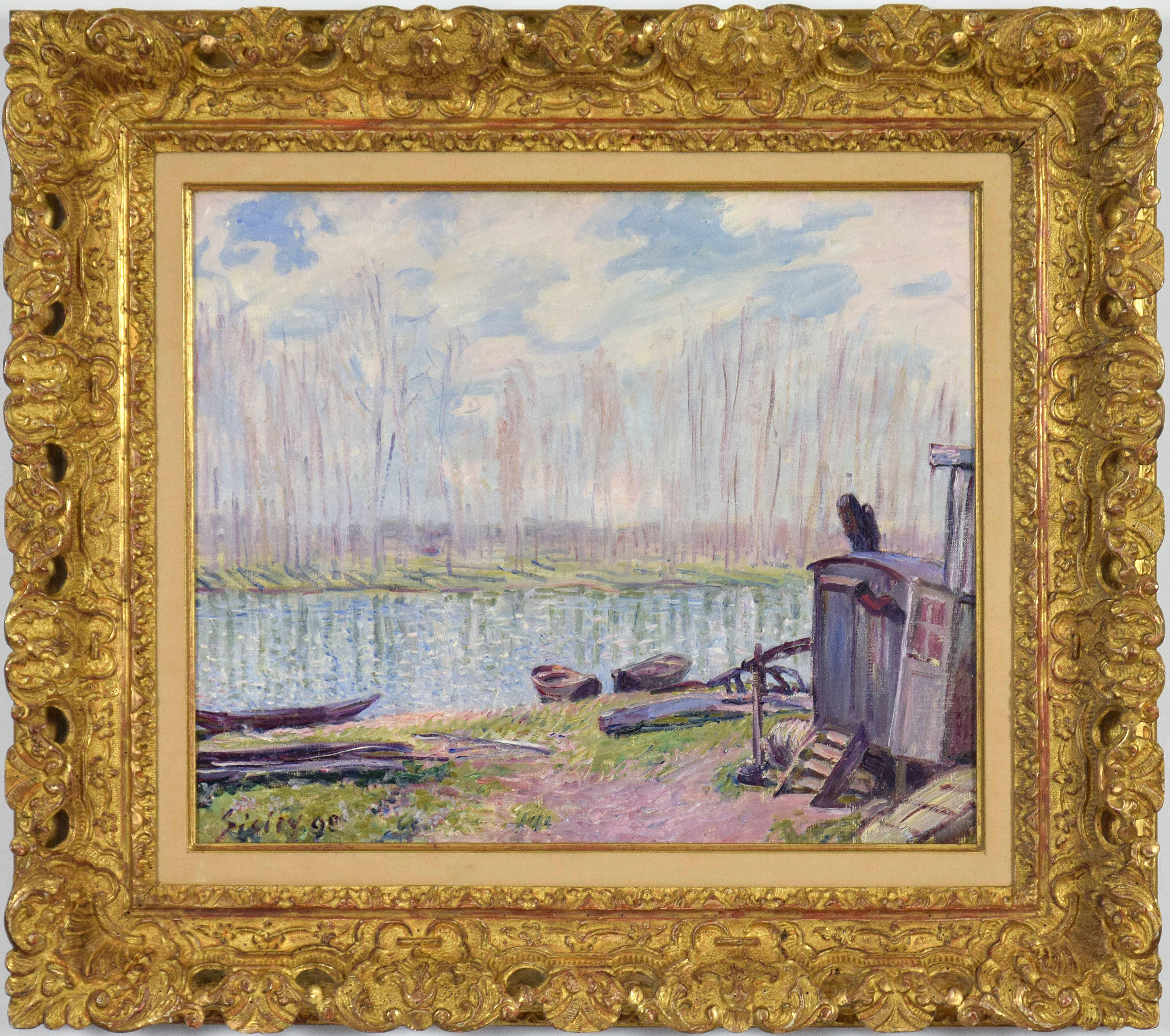 Bords du Loing, ALFRED SISLEY - Oil, Impressionist, Landscape, River