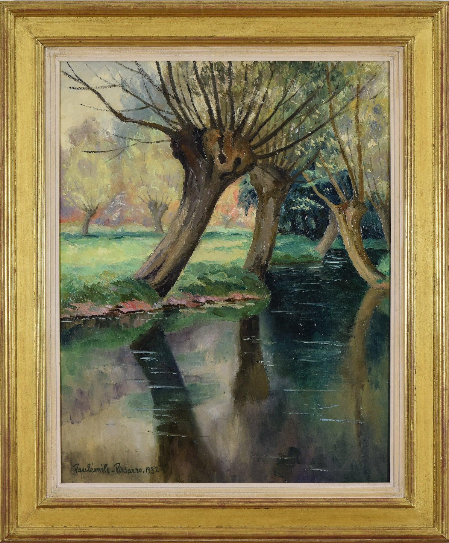 La Rivière by PAULÉMILE PISSARRO - Post Impressionist Landscape Painting, River