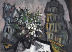 Bouquet de Fleurs dans un Paysage Urbain