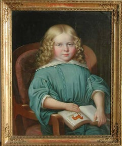 Portrait of a Girl with a Book, MARTIN JABLONSKI - Portrait, Russian, Realism
