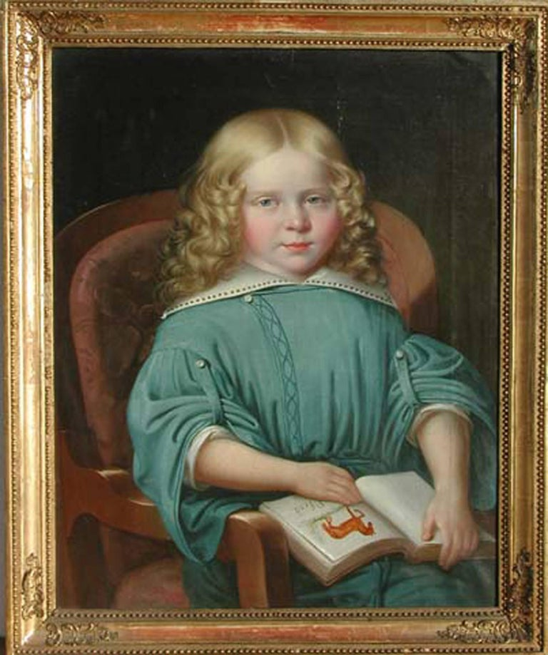 Portrait of a Girl with a Book, MARTIN JABLONSKI - Portrait, Russian, Realism - Painting by MARTIN JABLONSKI