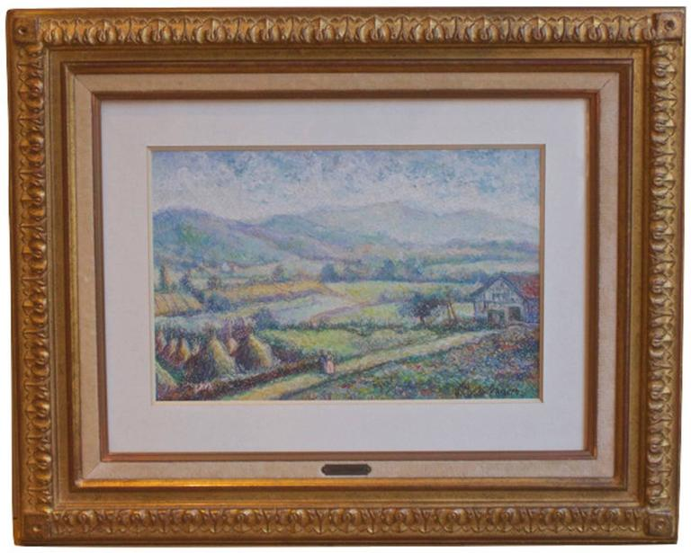 Le Massif de la Rhune au Pays Basque - Painting by Hugues Claude Pissarro
