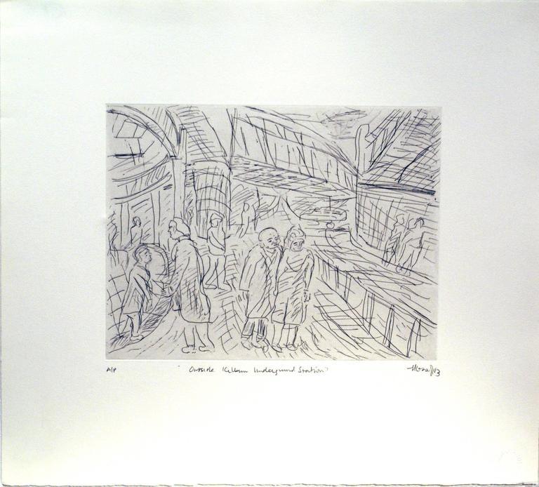 Leon Kossoff Figurative Print - Outside Kilburn Underground Station