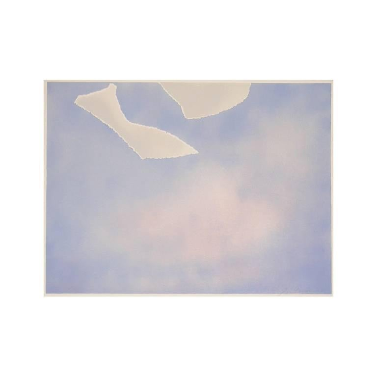 Joe Goode Abstract Print - Untitled (White paper clouds)