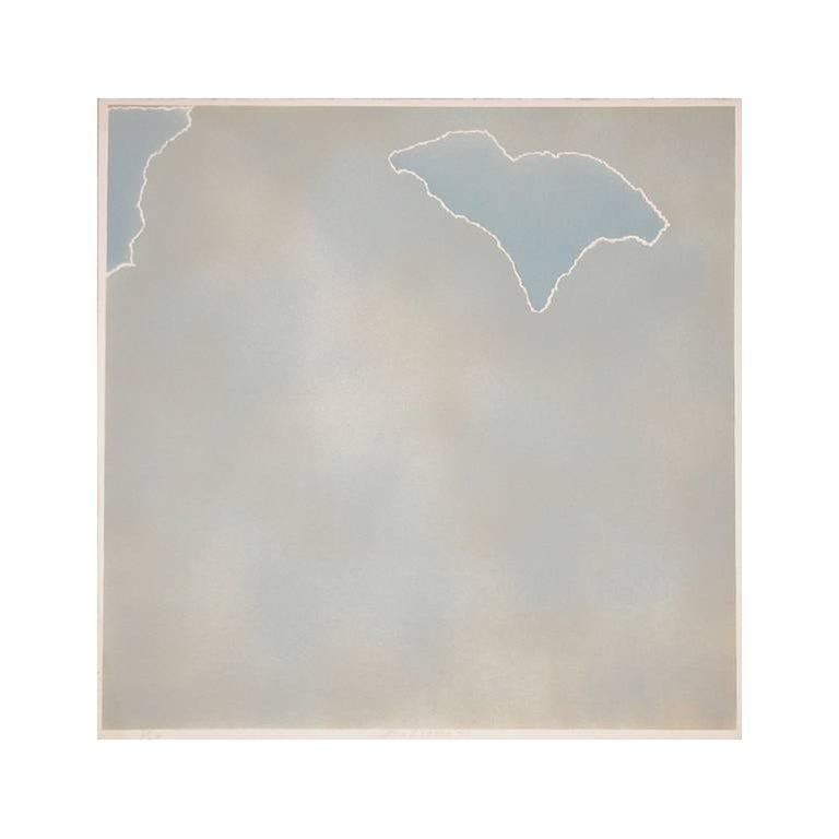 Joe Goode Abstract Print - Untitled (Blue paper clouds)