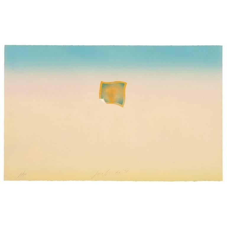 Joe Goode Abstract Print - Untitled (Small orange photo on peach and blue background)