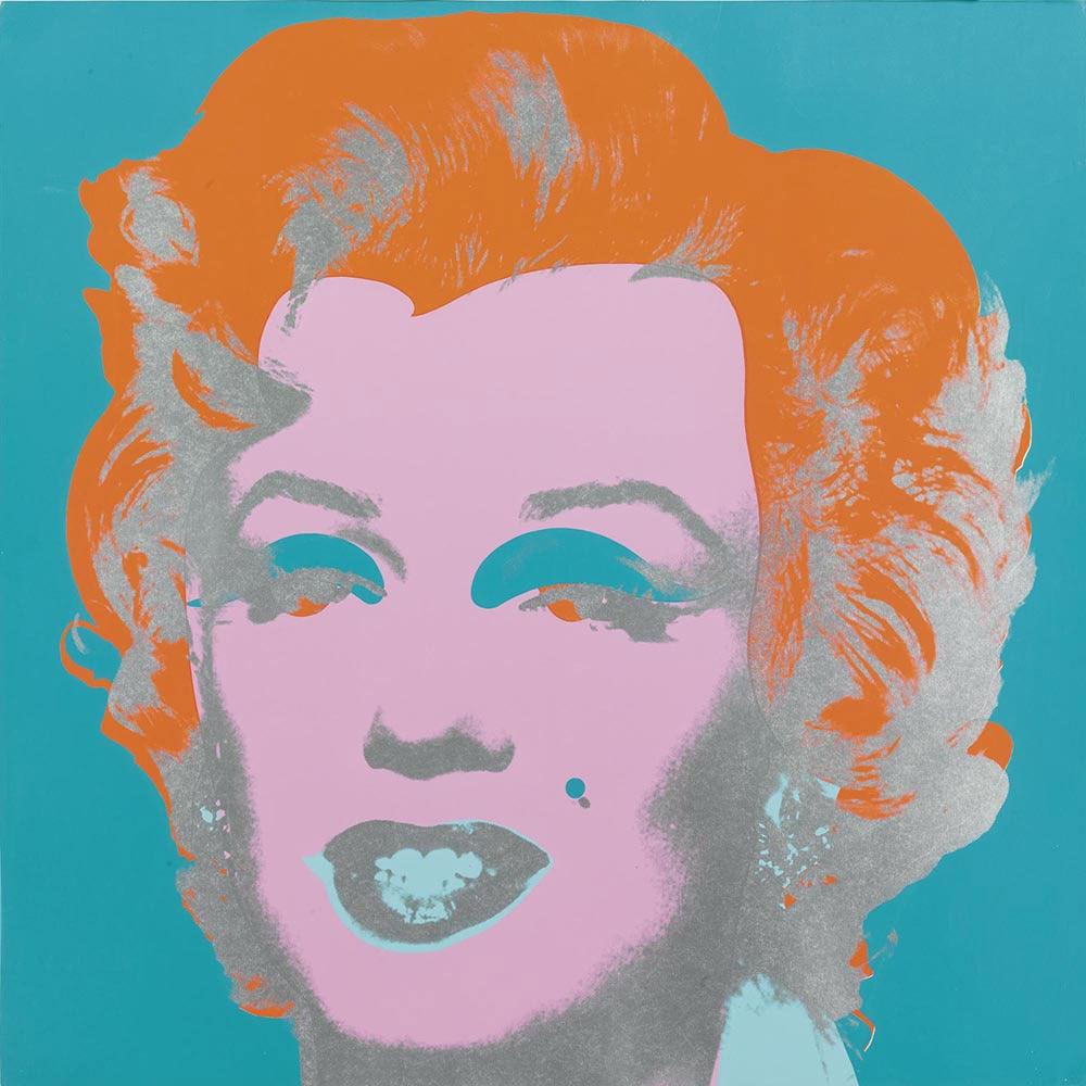 andy warhol marilyn monroe screenprint with orange hair and blue background