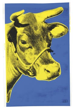 Cow 12 by Andy Warhol, Blue and Yellow