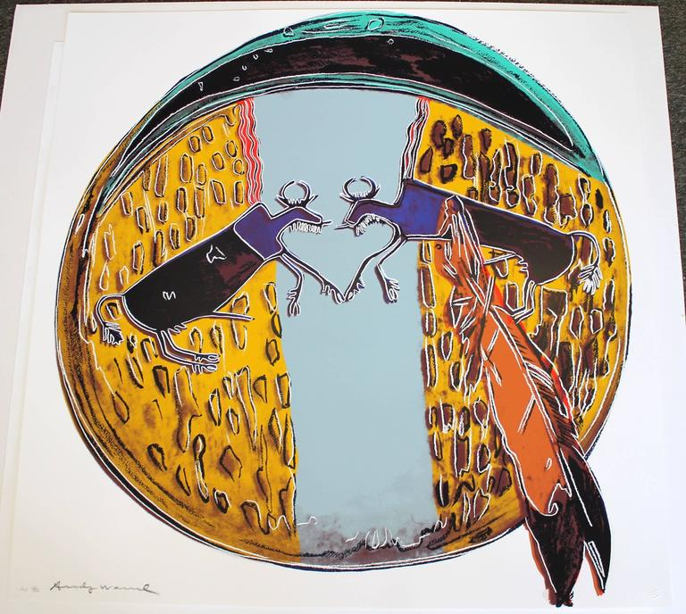 Plains Indian Shield (FS II.382) - Beige Print by Andy Warhol