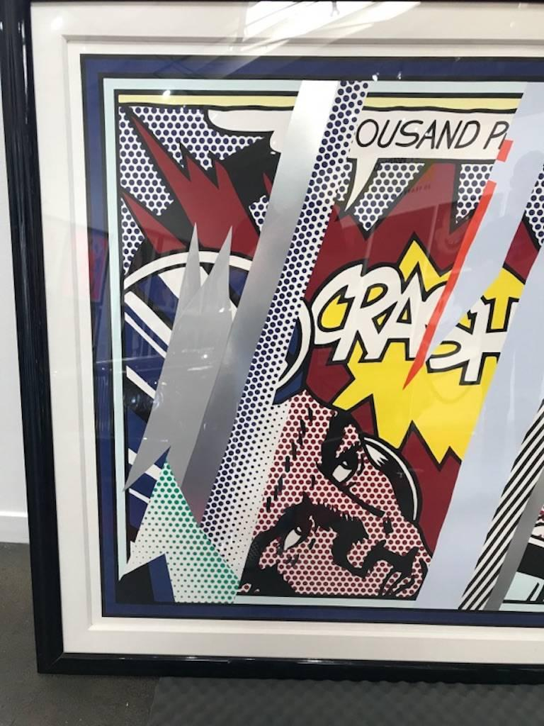 Reflections on Crash, from Reflections Series  lithograph, screenprint and relief in colors, with metalized PVC collage with embossing, 1990, on Somerset paper, signed and dated in pencil. This is one of 16 Artists Proof impressions (there is also