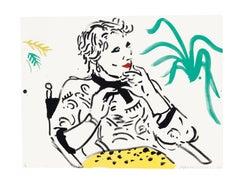 Celia with Green Plant - Print, Lithograph, Portrait, Contemporary Art, Pop art,