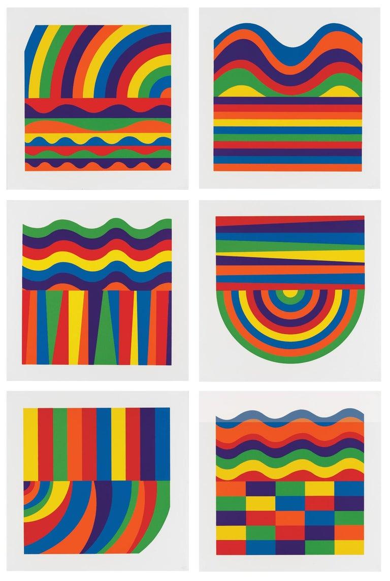 Sol LeWitt Abstract Print - Arcs and Bands in Color - Contemporary Art, Linocut, Minimalism, Conceptual art