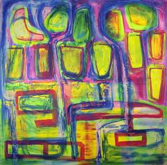 #40, Big abstract painting, Dutch contemporary, Blue, Yellow, Pink