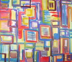 #59, Large abstract painting, Dutch contemporary, cubism, colourful