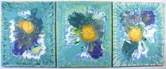 #63 Triptych, three paintings, Dutch contemporary, green, yellow, purple