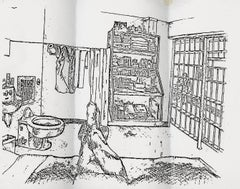 Sketch of a death row cell interior