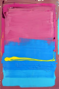 Pink and Blue Blocks with Yellow Line Painting