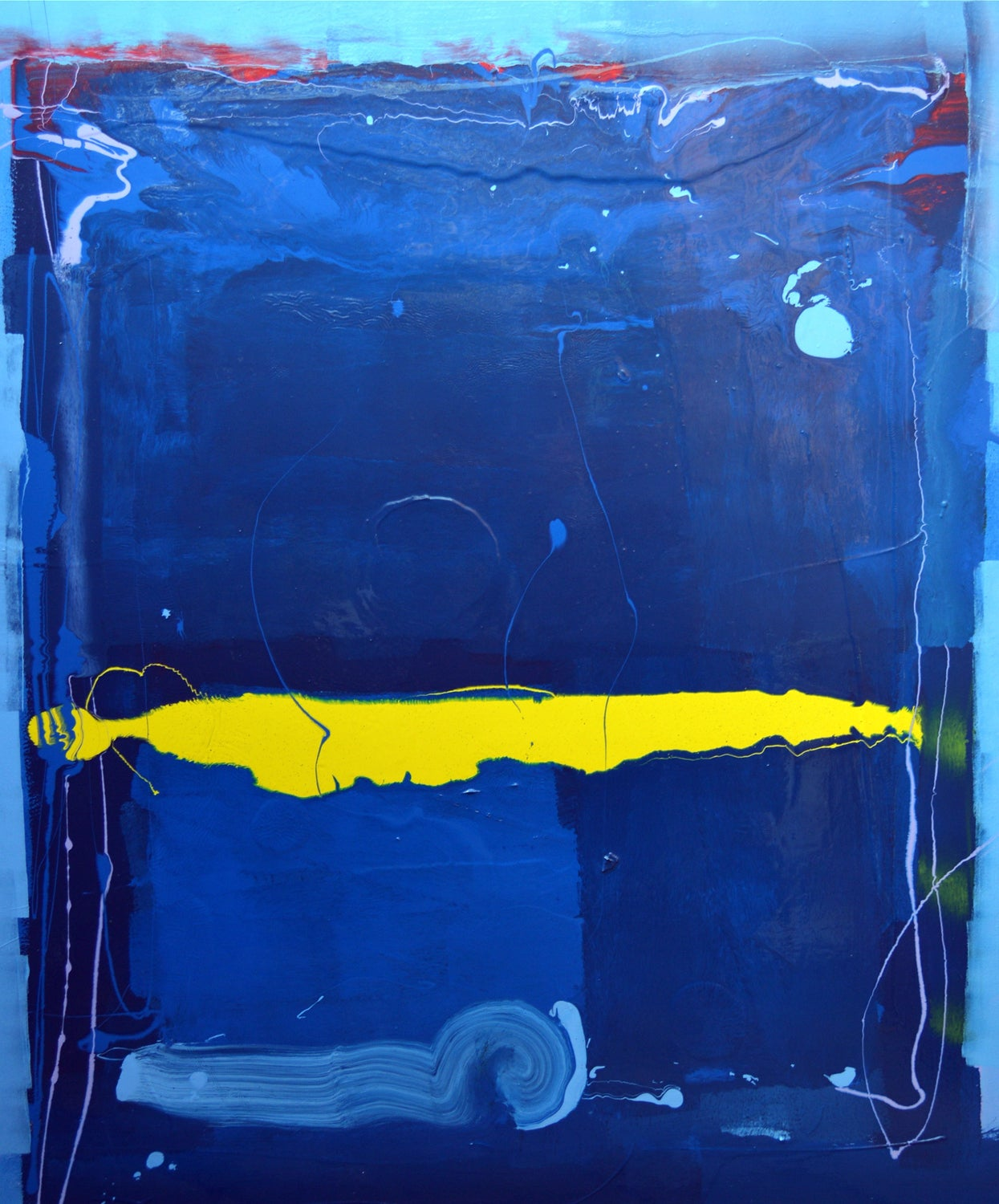 Blue Line Art Painting : Anthony hunter blue with yellow blobby line