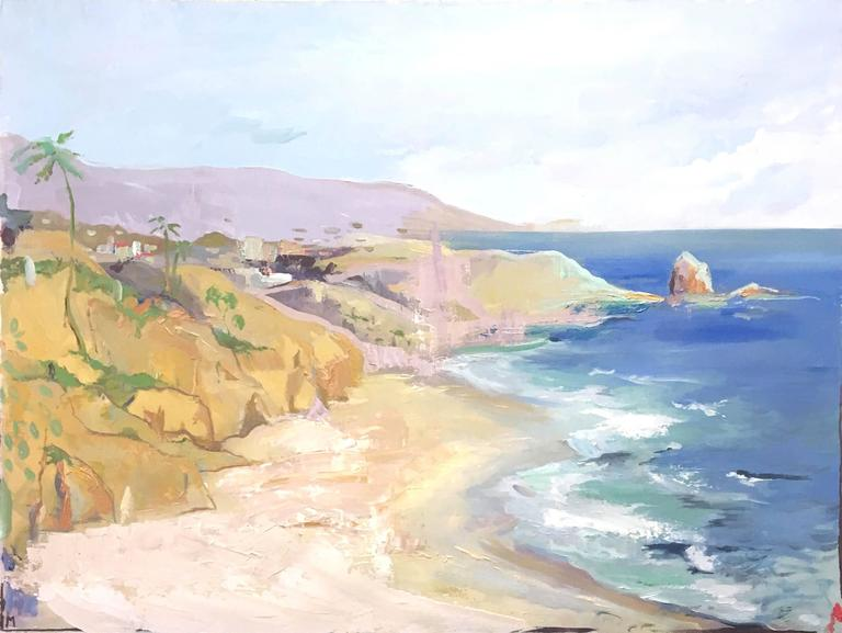 Erin Metzdorf Landscape Painting - Sandy Beach Crystal Cove California Landscape
