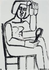 Woman with Hair Brush