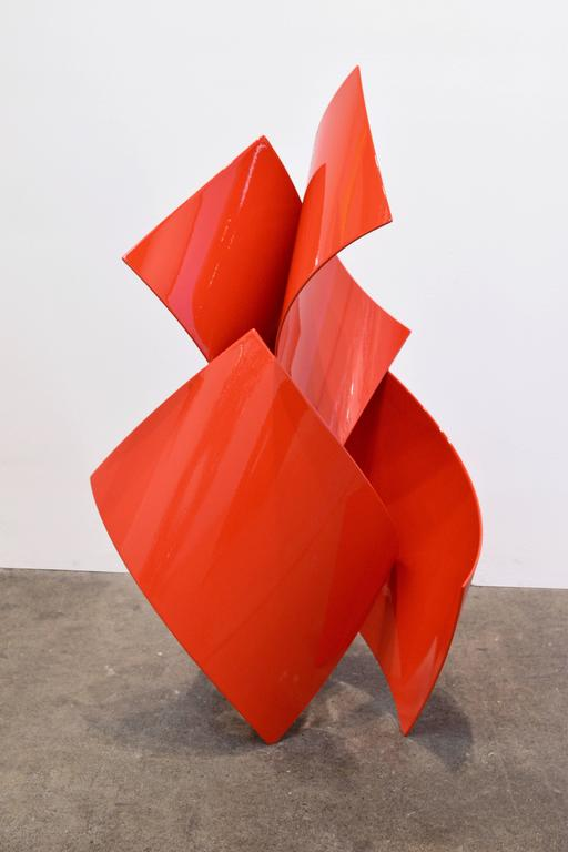 Where Will This Lead #2, Abstract Red Sculpture