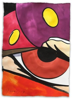 Untitled 5, John CRASH Matos, Street Art Inspired Watercolor (Red and Purple)