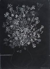 Flowers-Black, White and Grey
