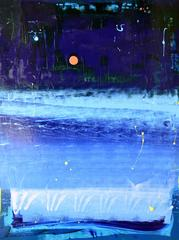 The Right Blue Moonlight at Night with Little Red Blob Painting