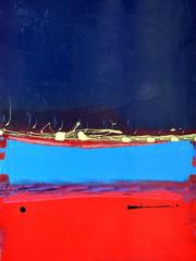 Deep Deep Blue Sky on Top of Light Blue on Top of Lovely Red Painting
