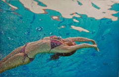 Summer Lotus, Eric Zener, Mixed Media on Panel, Figurative Waterscape