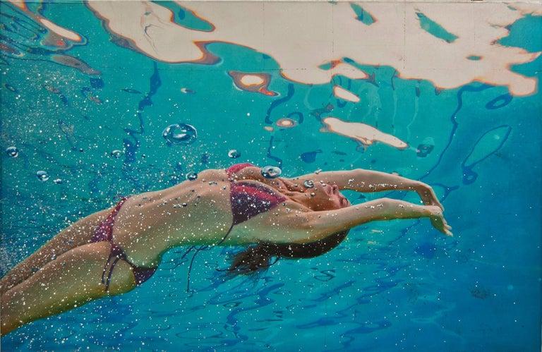 Summer Lotus, Eric Zener, Mixed Media on Panel, Figurative Waterscape - Mixed Media Art by Eric Zener