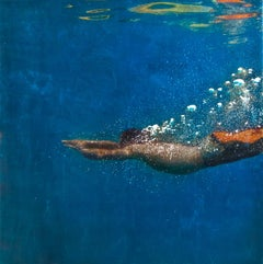 Blue Edge, Eric Zener, Gold Leaf and Mixed Media - Figurative Waterscape