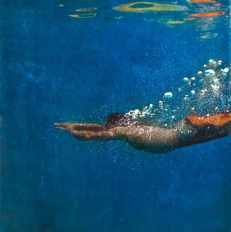 Blue Edge, Eric Zener, Gold Leaf and Mixed Media - Figurative Waterscape - Mixed Media Art by Eric Zener