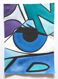 Untitled 25, John CRASH Matos, Street Art Watercolor, Blue, Purple (Figurative)