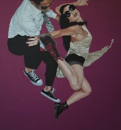 Hit a World, Pedro Bonnin, Figurative Photorealism Pop Art, Purple Oil on Canvas